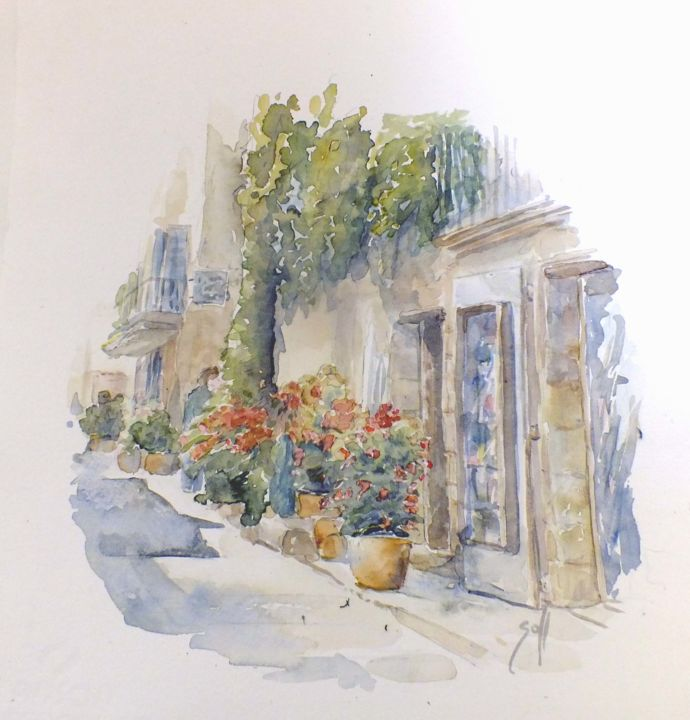 lourmarin - Painting,  15.8x11.8 in, ©2016 by Argane Sopher -