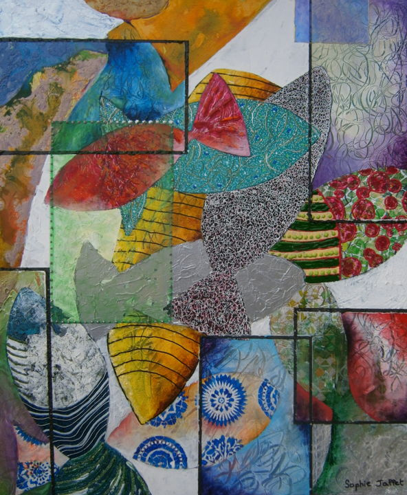 Les madfishes - Mixed Media,  60x50x1.5 cm ©2018 by Sophie Jallet -                                                            Contemporary painting, Canvas, Fish, poisson, peinture