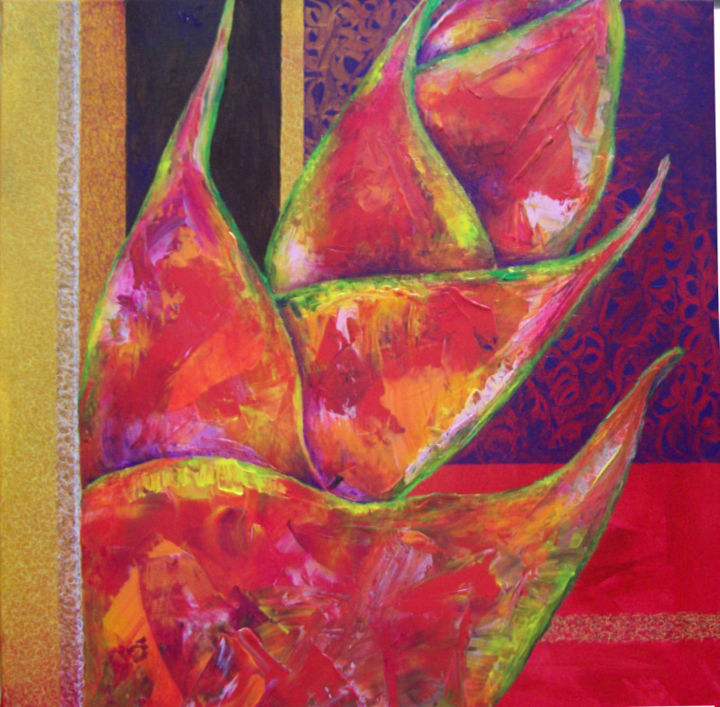 Heliconia - Painting,  19.7x19.7 in, ©2014 by Sophie Jallet -                                                                                                              Flower, heliconia peinture acrylique