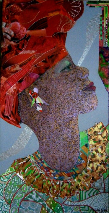 makena.jpg - Mixed Media,  90x40 cm ©2016 by Sophie Jallet -                                                        Contemporary painting, Canvas, Women