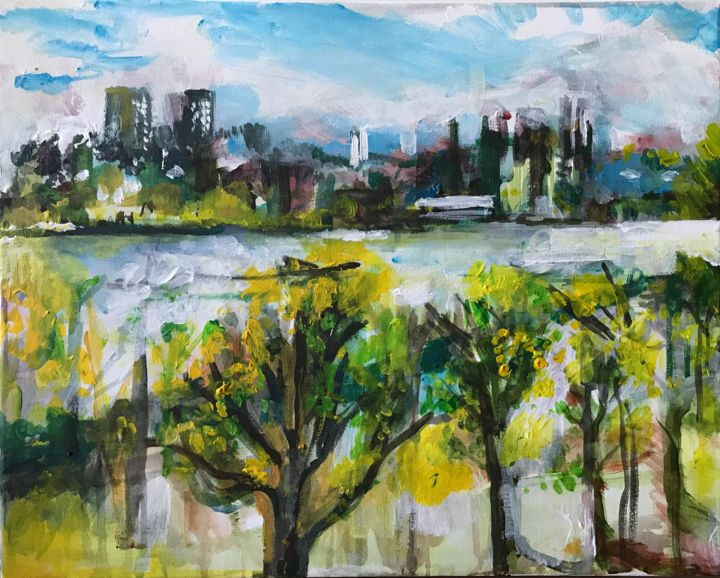 """Painting titled """"View of the Thames…"""" by Sophie Venturini, Original Art, Acrylic"""