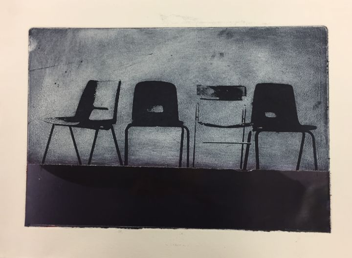 """Printmaking titled """"Four Chairs"""" by Sophie Cordery, Original Art, Etching"""