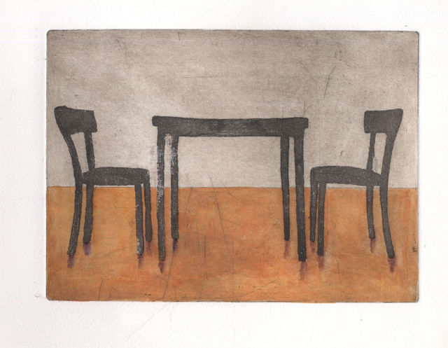 Table and Chairs - Pittura, ©2013 da Sophie Cordery -                                                                                                                                                                                                                                                                                          aquatint, etching, gouache, chairs, table, print
