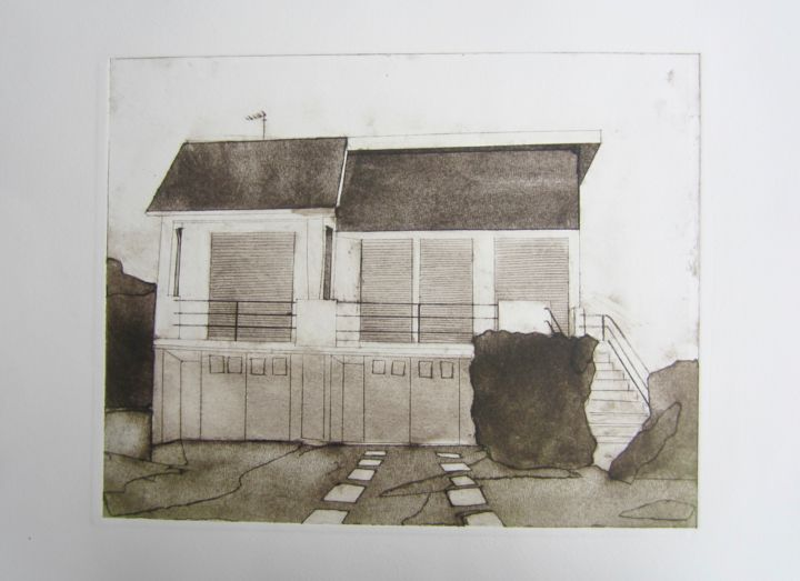 """Printmaking titled """"Villa (Closed down…"""" by Sophie Cordery, Original Art, Etching"""