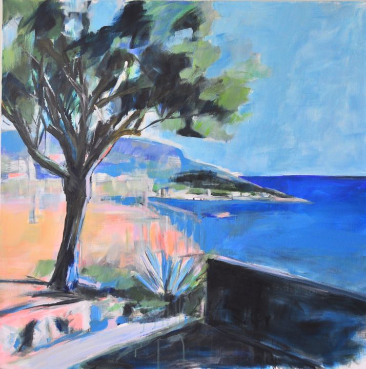 Nice - Painting,  39.4x39.4x0.4 in, ©2018 by Sophie Demolins De Jenlis -                                                                                                          Tree, Seascape