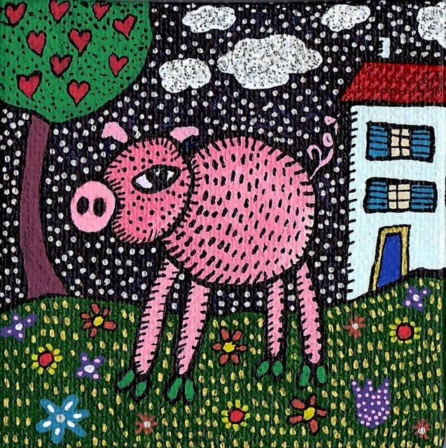 Cochon - Painting,  7x7 cm ©2011 by Sophie Dubreuil -