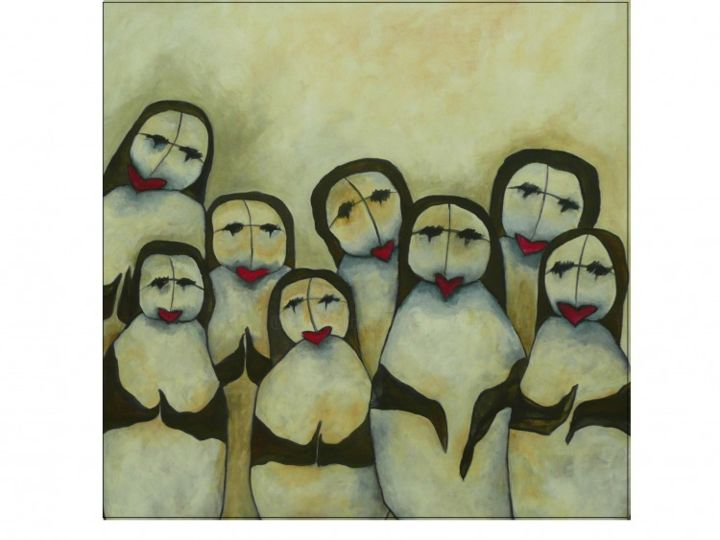 LES MAMANS - Painting,  31.5x31.5 in, ©2012 by Sophie hoang trong -