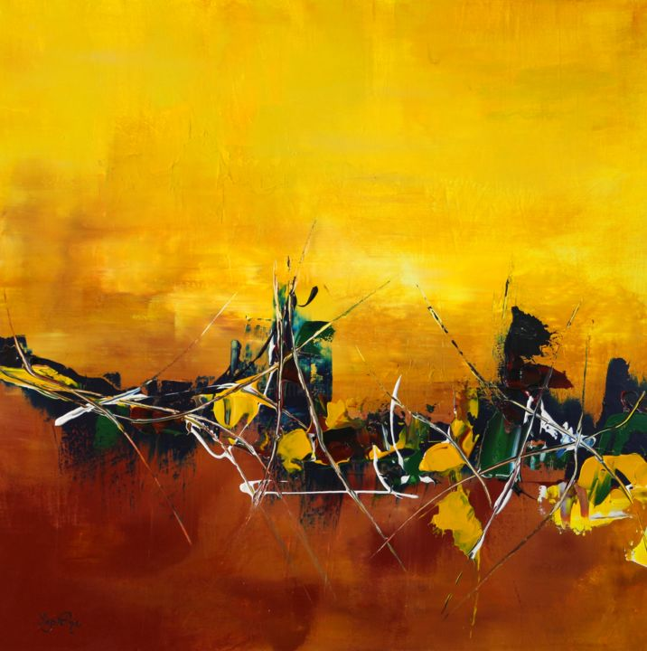 68-Energie - Painting,  31.5x1.4x31.5 in, ©2015 by Sophine -                                                                                                                                                                                                                                                                                                                                                              Abstract, abstract-570, Abstract Art, tableau abstrait, paysage abstrait, toile contemporaine, couleur jaune et marron