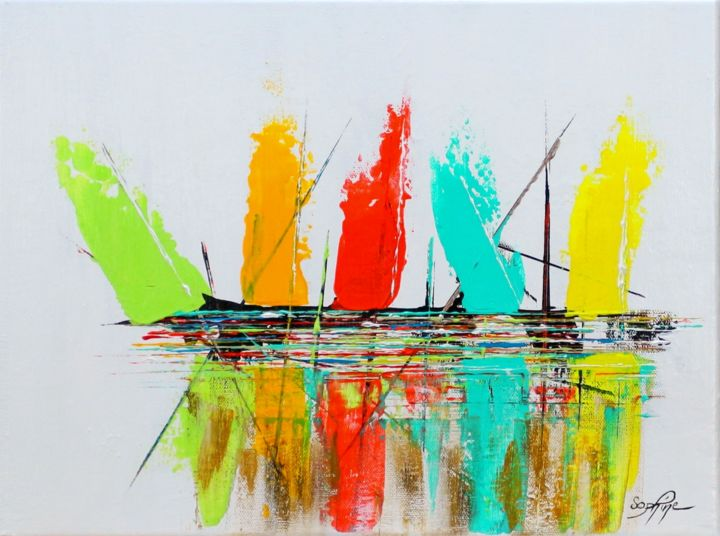 221-bateaux1.jpg - Painting,  30x40x2.5 cm ©2017 by SOPHINE -                                                            Contemporary painting, Canvas, Boat, art abstrait, art contemporain, bateau contemporain, bateau abstrait