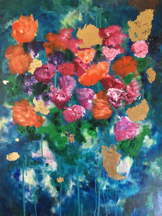 """Painting titled """"Morning flowers"""" by Samy Hasan, Original Art, Acrylic"""