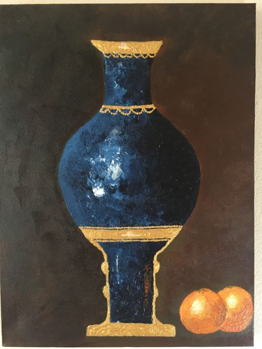 """Painting titled """"The blue and gold v…"""" by Samy Hasan, Original Art, Acrylic"""
