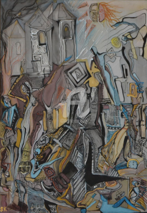 Apocalypse - Design,  60x40x1 cm ©2011 by Sose -                                                                                                Abstract Art, Modernism, Symbolism, Surrealism, Fabric, Fantasy, 07