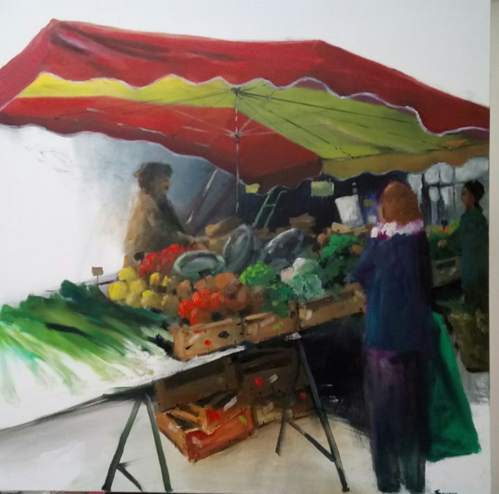 20171216-204008.jpg - Painting,  100x100x5 cm ©2017 by Bernard Soupre -                                                            Contemporary painting, Other, Rural life, Marché, Cageot