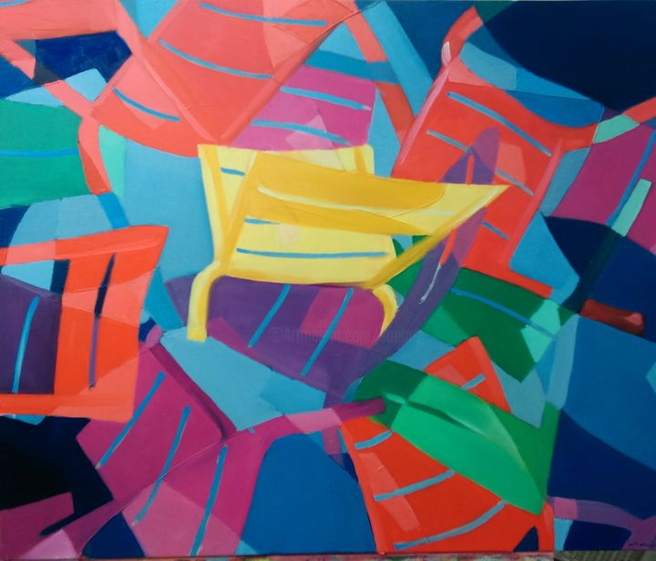 2014-10-22-17-51-20-1.jpg - Painting,  90x90 cm ©2014 by Bernard Soupre -            chaises, fermob, luxembourg