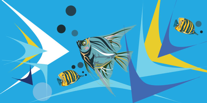 """Painting titled """"The Fishes"""" by Sourish Nath Artist, Original Art, 2D Digital Work"""