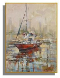 Barco Vermelho - Painting,  80x60 cm ©2005 by Sousa Rodrigues -                            Realism, boat, motor-boat