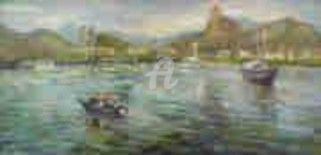 Panorama - Corcovado  - RJ - Painting,  80x40 cm ©2004 by Sousa Rodrigues -            Oil Painting  Boat