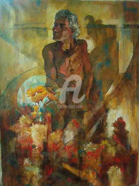 Vendedor de Flores - Painting,  110x90 cm ©2004 by Sousa Rodrigues -                            Realism, Oil Painting