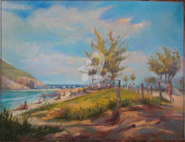 Praia do Recreio - Painting,  80x60 cm ©2005 by Sousa Rodrigues -                            Realism, Oil Painting Beach