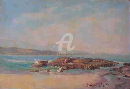 Praia de Guarapari - Espirito Santo - Painting,  55x38 cm ©2005 by Sousa Rodrigues -                            Realism, Oil Painting Beach