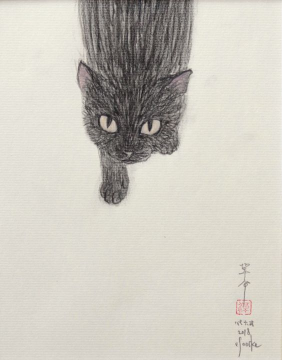 neco ( chat ) 267802-dw006 - Drawing,  9.1x7.1x0.1 in, ©2018 by Souske -                                                                                                                                                                                                                                                                                                                                                                                                          Classicism, classicism-933, Animals, Japan, Japon, kawaii, cay, chat