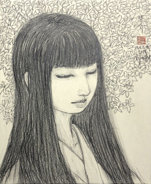 Bijin-Ga (Belles femme) ~4gdrawing2678003a~ - Drawing,  10.6x8.8 in, ©2018 by Souske -                                                                                                                                                                                                                                                                                                                                                                                                                                                      Classicism, classicism-933, Women, Japan, Japon, traditional, kawaii, belle, beauty