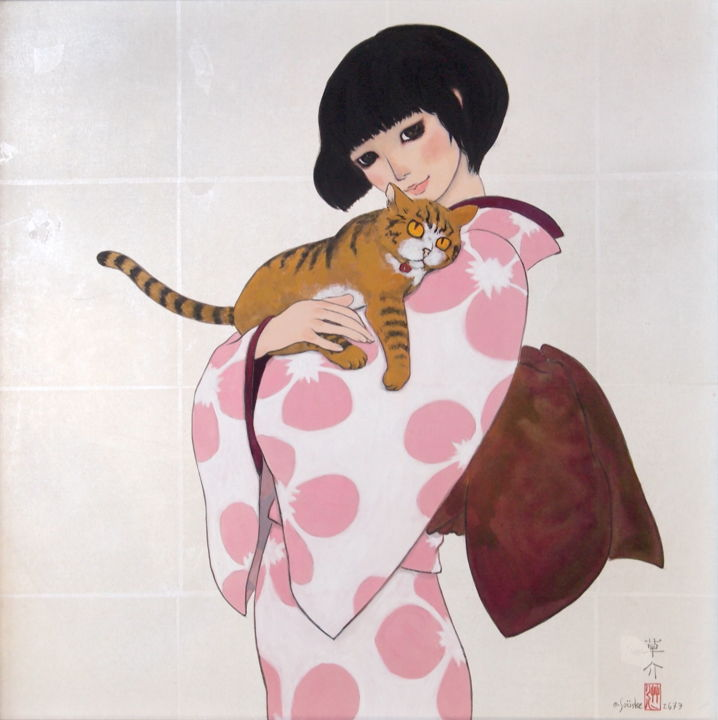 Tora-ya  ver.1 - Painting,  16.1x16.1x0.8 in, ©2013 by Souske -                                                                                                                                                                                                                                                                                                                                                                                                                                                                                                                                                                                                                                                                                                                                                                                                                      Classicism, classicism-933, Animals, Asia, artwork_cat.Cats, Women, Japan, Japon, traditional, chat, kawaii, kimono, geisha, samurai, ukiyoe, beauty, belle