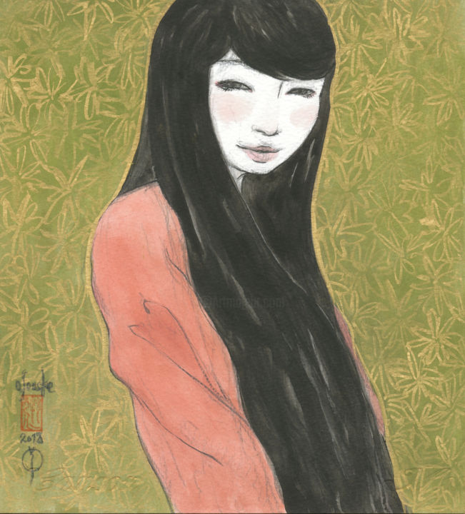 Otome ( fille ) ~22*20_painting26780040a~ - Painting,  8.7x7.9 in, ©2018 by Souske -                                                                                                                                                                                                                                                                                                                                                                                                          Classicism, classicism-933, Women, Japan, Japon, kawaii, belle, beauty