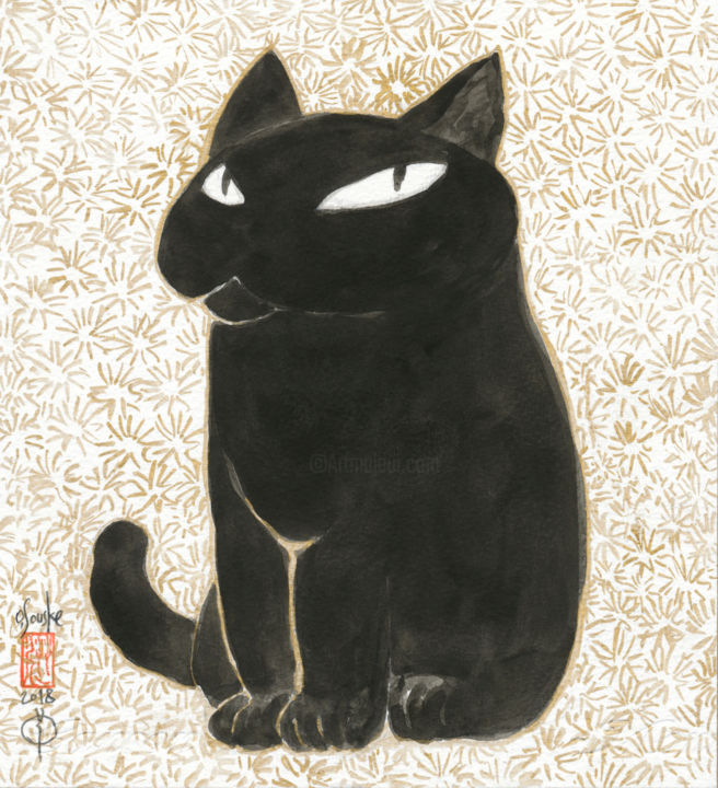 so-neco (souske-chat) ~22*20_painting26780001~ - Painting,  8.7x7.9 in, ©2018 by Souske -                                                                                                                                                                                                                                                                                                                                                                                                          Classicism, classicism-933, artwork_cat.Cats, cat, chat, kawaii, Japon, Japan