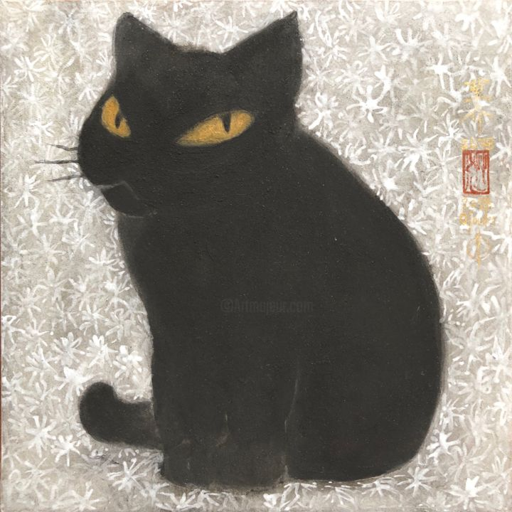 so-neco ( souske-chat ) ~S0_2678001~ - Painting,  7.1x7.1x0.8 in, ©2018 by Souske -                                                                                                                                                                                                                                                                                                                                                                                                                                                                                                      Classicism, classicism-933, Other, Animals, artwork_cat.Cats, Japan, Japon, kawaii, traditional, chat