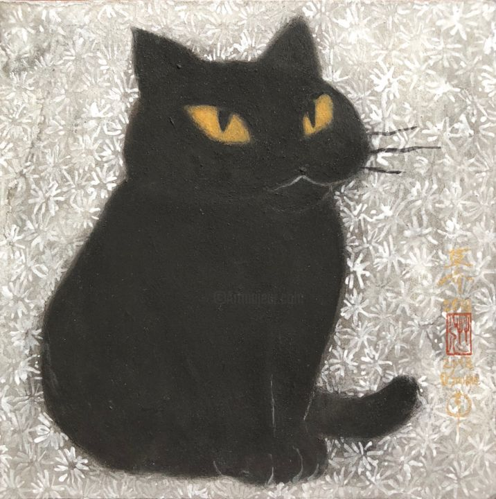 so-neco ( souske-chat ) ~S0_2678002~ - Painting,  7.1x7.1x0.8 in, ©2018 by Souske -                                                                                                                                                                                                                                                                                                                                                                                                                                                      Classicism, classicism-933, Animals, artwork_cat.Cats, japan, Japon, kawaii, chat, traditional