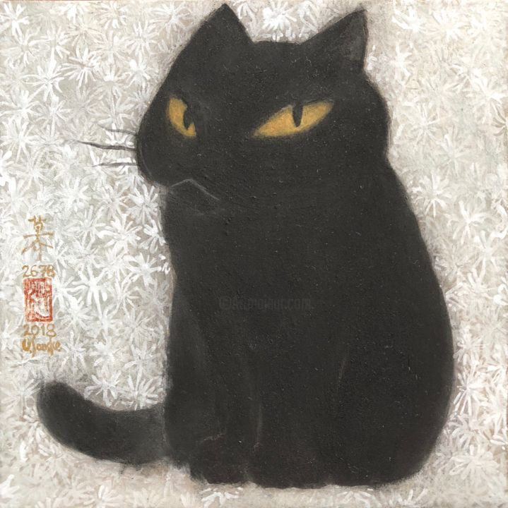 so-neco ( souske-chat ) ~S0_2678003~ - Painting,  7.1x7.1x0.8 in, ©2018 by Souske -                                                                                                                                                                                                                                                                                                                                                                                                                                                      Classicism, classicism-933, Animals, artwork_cat.Cats, Japan, Japon, kawaii, beauty, traditional