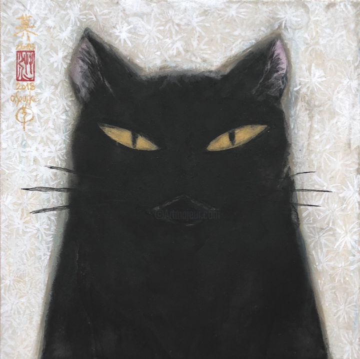 so-neco (souske-chat) ~S0_2678007~ - Painting,  7.1x7.1x0.8 in, ©2018 by Souske -                                                                                                                                                                                                                                                                                                                                                                                                                                                                                                  Classicism, classicism-933, Animals, artwork_cat.Cats, japan, japon, kawaii, chat, ukiyoe, traditional