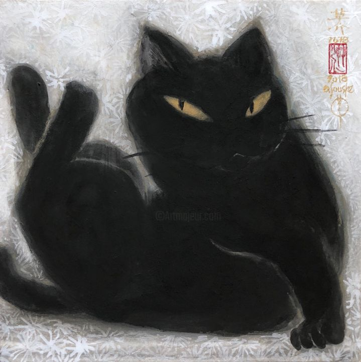 so-neco (souske-chat) ~S0_2678008 - Painting,  7.1x7.1x0.8 in, ©2018 by Souske -                                                                                                                                                                                                                                                                                                                                                                                                                                                                                                                                              Classicism, classicism-933, Animals, artwork_cat.Cats, Japan, Japon, kawaii, traditional, cat, chat, ukiyoe