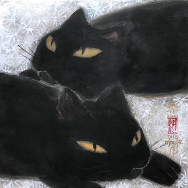 so-neco (souske-chat) ~S0-2678009~ - Painting,  7.1x7.1x0.8 in, ©2018 by Souske -                                                                                                                                                                                                                                                                                                                                                                                                                                                                                                  Classicism, classicism-933, Animals, artwork_cat.Cats, Japan, japon, kawaii, ukiyoe, neko, chat