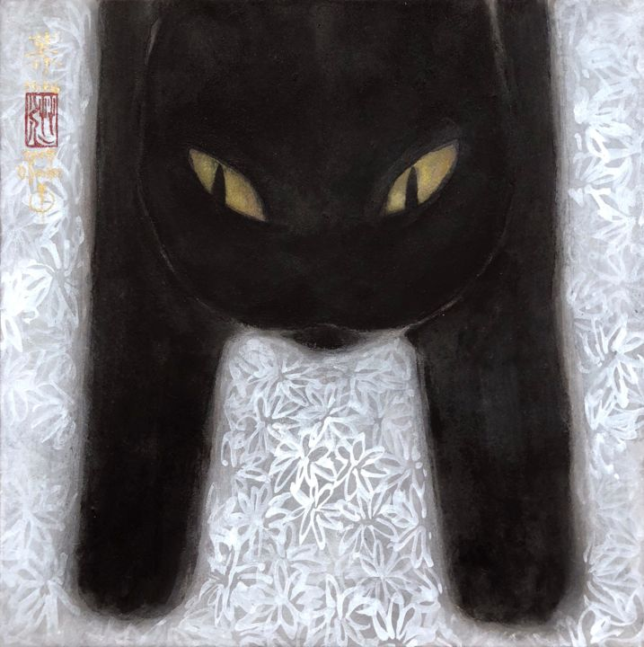 so-neco (souske-chat) ~S0_2678011~ - Painting,  7.1x7.1x0.8 in, ©2018 by Souske -                                                                                                                                                                                                                                                                                                                                                                                                          Classicism, classicism-933, Animals, artwork_cat.Cats, Japan, Japon, kawaii, traditional