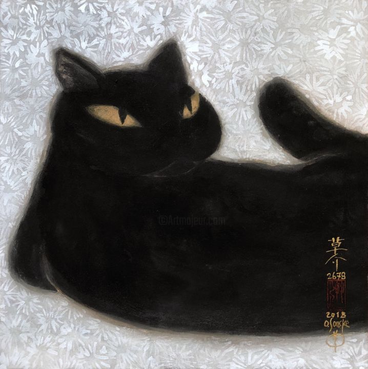 so-neco (souske-chat) ~S0_2678012~ - Painting,  7.1x7.1x0.8 in, ©2018 by Souske -                                                                                                                                                                                                                                                                                                                                                                                                                                                          Classicism, classicism-933, Other, Animals, artwork_cat.Cats, Japan, Japon, traditional, kawaii