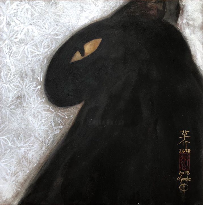 so-neco (souske-chat) ~S0_2678013~ - Painting,  7.1x7.1x0.8 in, ©2018 by Souske -                                                                                                                                                                                                                                                                                                                                                                                                                                                      Classicism, classicism-933, Animals, artwork_cat.Cats, Japan, Japon, cool, kawaii, traditional