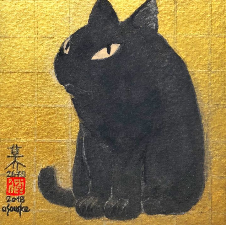 so-neco (souske-chat) ~9.5*9.5_26780025~ - Painting,  3.7x3.7 in, ©2018 by Souske -                                                                                                                                                                                                                                                                                                                                                                                                                                                                                                                                              Classicism, classicism-933, Animals, artwork_cat.Cats, Japan, Japon, kawaii, neco, chat, traditional, pigment
