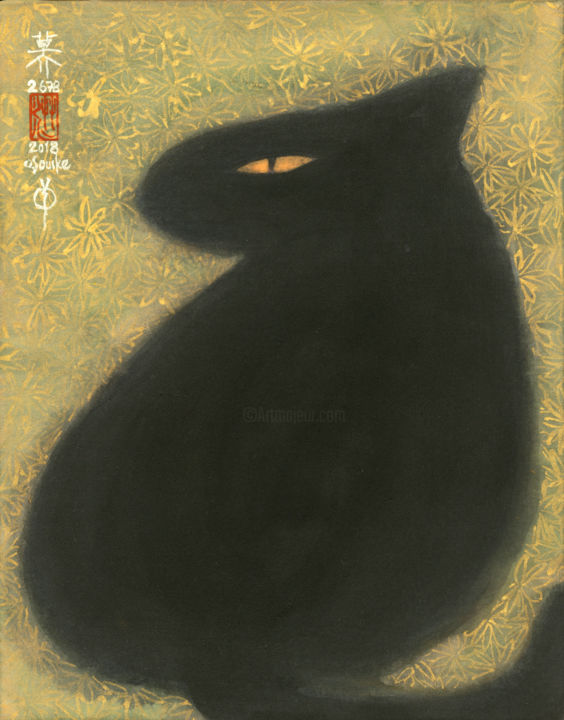 so-neco (souske-chat) ~mutsu_2678015~ - Painting,  9.1x7.1x0.4 in, ©2018 by Souske -                                                                                                                                                                                                                                                                                                                                                                                                                                                                                                  Classicism, classicism-933, Animals, artwork_cat.Cats, Japan, Japon, kawaii, neko, chat, traditional
