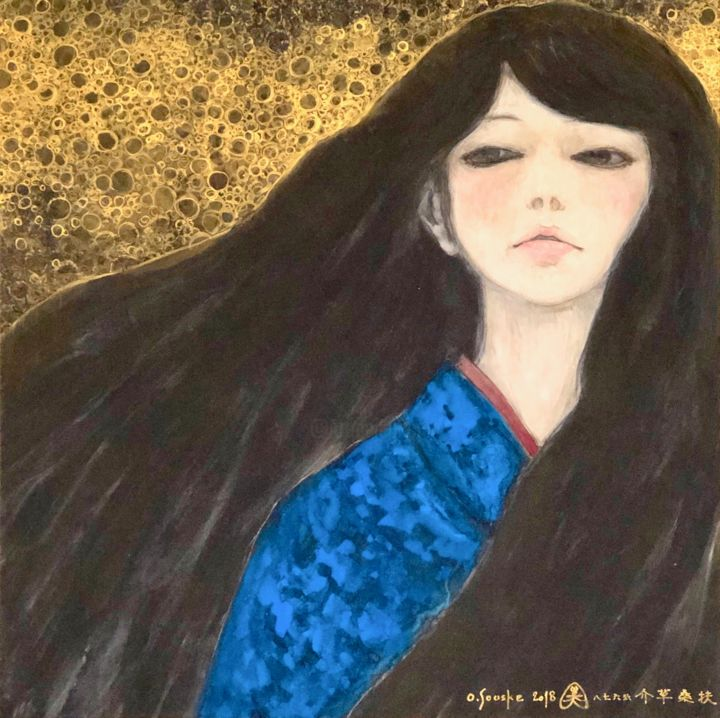 Southern Cross - Painting,  28.7x28.7x0.9 in, ©2018 by Souske -                                                                                                                                                                                                                                                                                                                                                                                                          Classicism, classicism-933, Women, Japan, Japon, beauty, traditional, belle