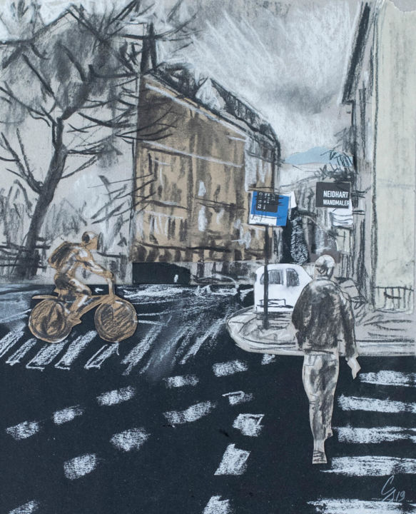 Crossroads - Drawing,  16.5x11.8 in, ©2019 by Sergey Sovkov -                                                                                                                                                                                                                                                                                                                  Figurative, figurative-594, Architecture, Cityscape, city, people