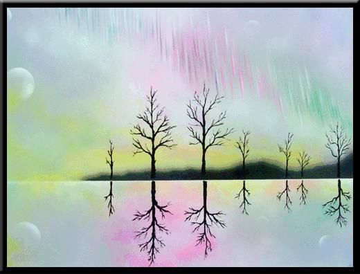 """Painting titled """"Aurora over Teok"""" by Nathan Harman, Original Art,"""