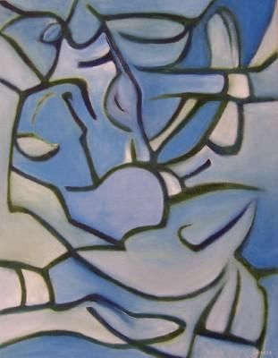Blowfish - Malerei,  18x14 in, ©2002 von Scott Spencer -                                                                                                                                                                          Abstract, abstract-570, Blue abstract white green art artist painter Scott Andrew Spencer original oil painting canvas for sale Pasadena California Los Angeles PayPal money order cashiers check personal