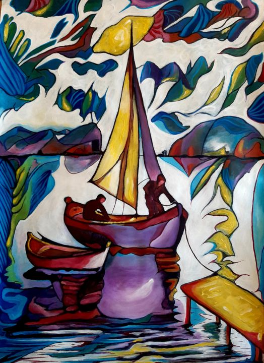 """Painting titled """"Fisherman"""" by Spiros Gremo, Original Art, Acrylic"""
