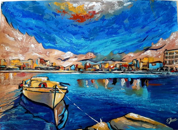 """Painting titled """"The boat"""" by Spiros Gremo, Original Art, Acrylic"""