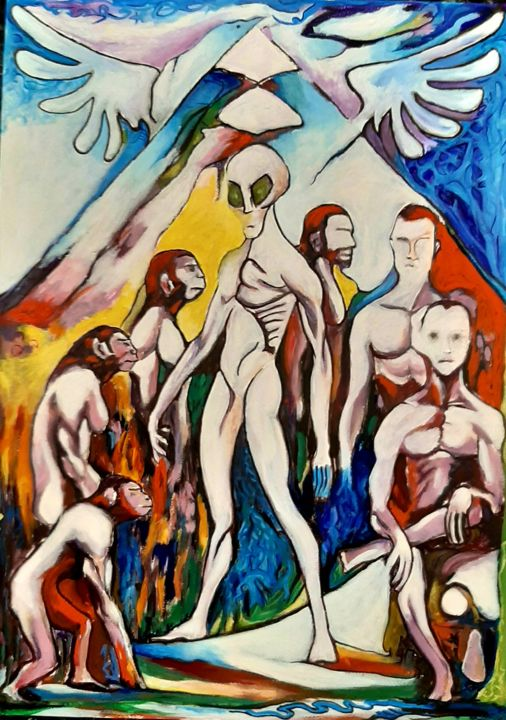"""Painting titled """"New evolution"""" by Spiros Gremo, Original Art, Acrylic"""