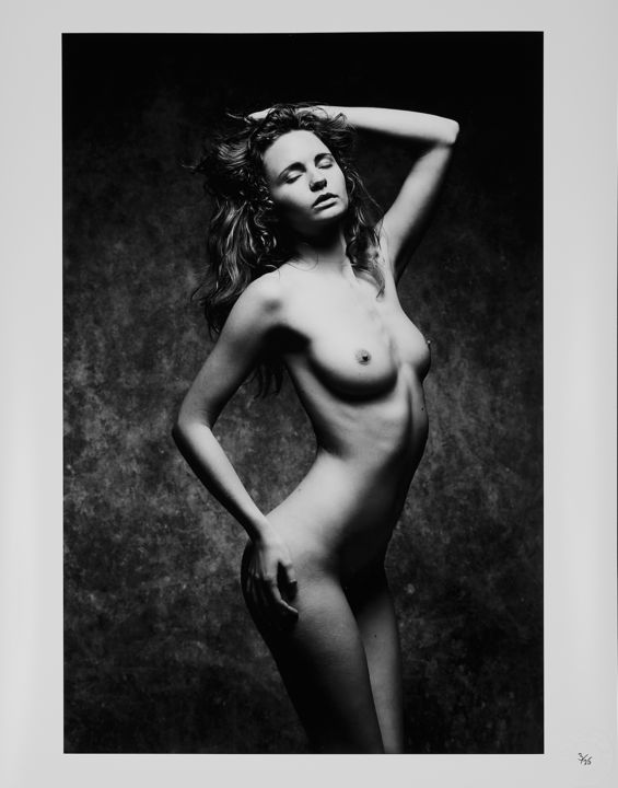 """""""Evelyn-eyes closed"""" (2019) - Photography,  20x16x0.1 in, ©2019 by Spiros Politis -                                                                                                                                                                                                                                                                                              Nude, #nude, #nu, #blackandwhite, #studio, #akt"""
