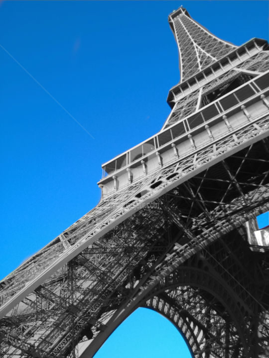 Eiffel tower black and white with color Photography by