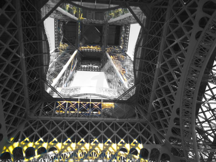 Eiffel tower black and white with color - Photography, ©2016 by splash -                                                                                                                                                                                                                                                                                                                                                                                                                                                                                                                                                                                                                                                                                                                                                                                                                                                                                                                                                                                                                                                                                                                                                                  Architecture, Colors, Geometric, Light, Black and White, Eiffel tower black and white with gold color splash, eiffel, eiffel tower, eiffel tower paris, eiffel tower paris france, splash, splash art, splash artist, splash artiste, splash photo, splash photography, splash pictures, splash images, color splash, color splash paris, colors splash paris france, paris, france, paris france, tour eiffel